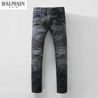 american rag - Balmain High Quality Famous Brand Black Grey Denim Jeans Ragged Destroy Washed Biker Moto Cross Jeans Pants For Men