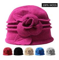 Prezzi Wool hat-100% lana cappello di feltro floreale cloche sentiva Womens Hawkins Bowler Cloche Secchio Caps epoca Eleganti signore inverno Top Hat caldo