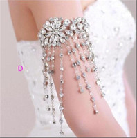 Wholesale Body Jewerly Beaded Wedding Accessory Necklace Jewelry Ribbon Chain Shoulder Wedding Bridal Princess Crystal Rhinestone Body Jewerly Beaded