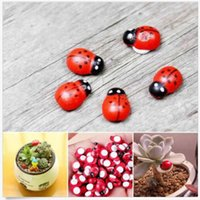 Wholesale 10 DIY Cute Wooden Ladybird Ladybug Sticker Children Kids Painted adhesive Craft Home Party Holiday Decorations