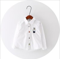 Wholesale 4pcs white cartoon rabbit pattern baby girl shirt fashion baby kids clothing new style hot selling