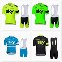 Wholesale Pro Team Sky Cycling Jersey Set Tour De France Fluo Green Yellow Black Blue Short Sleeve Bib Shorts Sets Maillot Ciclismo Ropa