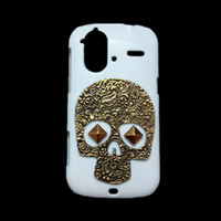 amazing protective covers - Cover for HTC Amaze G G22 D Unique Punk Spike Rivet Stud Studded Retro Metallic Bronze Skull Skeleton Back Hard Plastic Protective Case