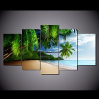acrylic painting sea - 5 Set HD Printed tropical sea sky sunshine blue beach Painting Canvas Print room decor print poster picture canvas acrylic paint