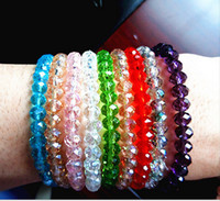 beaded elastic rings - Lady girl fashion Jewelry Crystal Bracelet Crystal Beads mm Elastic Bracelets bangles Mixed Colors for party gift promotion
