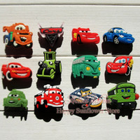 animal print car accessories - 100pcs Mixed cars Cartoon shoe charms accessories for shoe clog croc bracelet with hole Shoe Ornament Kids party decoration Gifts