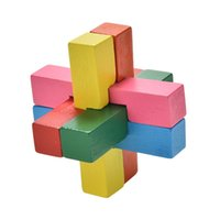 Wholesale Classical Colorful Magic Cube Kid Toys Kong Ming Lock Luban Lock Wooden Toy for Adult Children Intellectual Toys