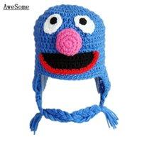 baby grover - Blue Grover Monster Hat Novel Handmade Knit Crochet Baby Boy Girl Earflap Hat Cookie Monster Hat Infant Toddler Photography Prop