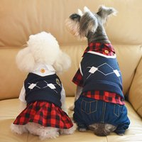 Wholesale Couples Wedding Dress - DHL free shipping Plaid school couple lovers male coat female dress pet supplies 2016 autumn winter new dog clothing apparel wholesale