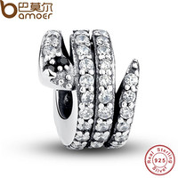 Wholesale Gift Sterling Silver Sparkling Snake Clear CZ Black Crystal Charms Fit BME Bracelet Necklace DIY Jewelry PAS115