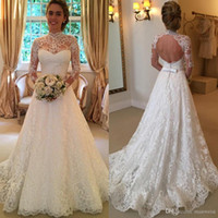 bead drops - 2016 Vintage Full Lace Wedding Dresses Long Sleeve Backless Country Sheer Bridal Gowns High Neck Cheap Sexy Formal A Line Boho Wedding Dress