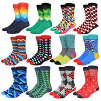 Wholesale Colored Dress Socks Men Combed Cotton Contrast Color Mens Sox Cool Happy Socks More Than Colors