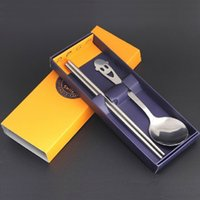 Wholesale South Korea faces big spoon and chopsticks combination stainless steel tableware spoon chopsticks two piece gift set g