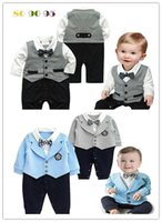 Wholesale 2016 New baby boys romper newborn gentleman bow tie suits spring autumn bebe jumpsuit costume infant clothes BY DHL