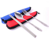 Wholesale Environmental protection portable travel tableware stainless steel set large spoon chopsticks fork canvas bag three piece g