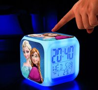 Wholesale DHL Kids Gift Elsa and Anna LED Digital USB charger Alarm clocks LED Changing Night light bedroom clocks