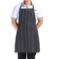 Wholesale Stripe Bib Apron with Pockets Chef Waiter Kitchen Cook New Tool Kitchen Apron