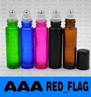 Wholesale Blue Green Pink Black Amber Mixed colors ml oz THICK ROLL ON GLASS BOTTLE Fragrances ESSENTIAL OIL perfume bottle Roller Ball LLFA1008