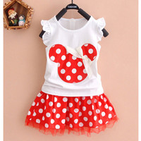 Cheap Baby & Kids Clothing Clothing Sets 2PCS Minnie Mouse Girl Cotton Top T-Shirt+Skirt Polka Dot Dress Outfit Clothes Set Outfit Suitable