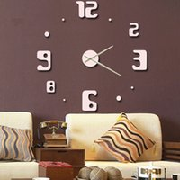 Wholesale Creative number wall clock fashion wall sticker art clock creative DIY cute clock hanging watch hot sale