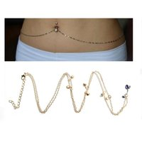 belly ring waist chain - Crystal Navel Belly Button Ring With Waist Chain Piercing Body Jewelry Colour Options
