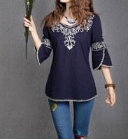 bell sleeves pattern - 2016 New Fashion Women Girls Totem Pattern Vintage Ethnic Blouse Embroidery Cotton Casual Shirts Tops blusa etnica bordada