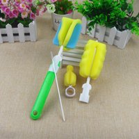 baby sponges - baby supplies bottle nipple brush Straw sponge bottle brush four piece suit