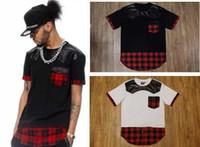 leather shirt - Summer Men tshirt Tyga plaid shirts pyrex patchwork tshirt short Sleeve t shirt Faux PU Leather t shirt men hip hop kanye west clothes