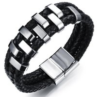Wholesale Man s Three Layers Leather Bangles Punk Style mm Width with Stainless Steel Decoration Cool Men Jewelry Gift