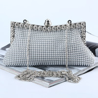 aluminum clutch - Factory Retaill brand new handmade pretty aluminum sheet evening bag clutch with satin for wedding banquet party porm More Colors