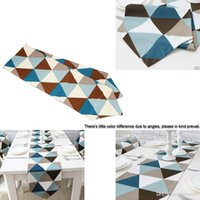 Wholesale Modern Fashion Geometric Pattern Table Runner European Style Wedding Party Dinner Table Flag Colorful Geometric Table Cloths