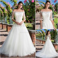 Wholesale 2 in Ball Gown Bridal Gown Off Shoulder With Bateau Boat Neckline Applique Soft Tulle Classic Sincerity Wedding Dresses