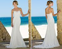 Wholesale Beach Wedding Dresses Strapless Sweetheart Chiffon Bridal Dress Lace Up Back Sheath Simple Bridal Formal Wear Summer Wedding Gown W2648