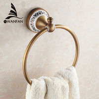 antique bronze towel ring - High quality wall mount Towel Ring Towel Holder Solid Brass Construction Antique Bronze finish Bathroom Accessories HJ