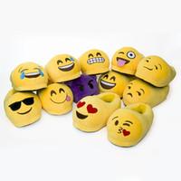 Emoji Тапочки Мультфильм Плюшевые тапочка Главная Мужчины Женщины Тапочки Зимний дом обуви Желтый Мультфильм Хлопок обувь