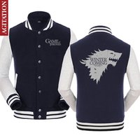 Wholesale Game Of THRONES House Of Stark Graphic Unisex Print Baseball Jackets Mens Casual Fire And Blood Targaryen Cotton Sweatshirts Coats