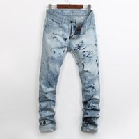 robin jeans - High quality Men Straight Jeans Classic Denim Trousers Robin Jeans For Men Cotton Jeans Fried Snow Slim Jeans Rhinestone Decoration