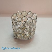 Wholesale 50pcs Small cylinder shape crystal beaded tea light votive candle holders for event wedding decoration