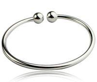 achat en gros de perles de charme d'argent de haute qualité-925 Bracelets Bracelet en argent sterling Remplir Femmes ouvertes Bracelet Cuff Européenne Perles Charme Bracelet Bijoux Haute Qualité