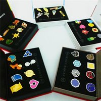 badges pack - 6 Styles cm Poke Go League Badges Brooch Toys Pikachu Alloys Pins Anime Figures Toys Kids Toys with Gift Box Packing F637