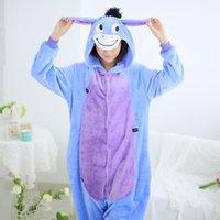 Wholesale New Unisex Men Women Adult Pajamas Cosplay Costume Animal Onesie Eeyore Donkey Sleepwear