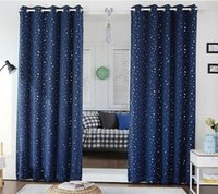 Wholesale Modern Stars Blackout Window Curtain For Kids Boys Girls bedroom Living room Elegent Bule Drape