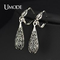 antique gold earings - Earrings Dangle Earrings UMODE Antique Silver Plated Vintage Alloy Carven Pattern Clasp Dangle Earrings JE0196 earings fashion