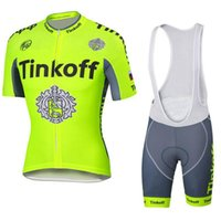Wholesale Tinkoff Saxo Bank Cycling jersey Set Yellow Fluo Color Breathable Short Sleeves cycling jerseys size XS XL Bib None Bib Set
