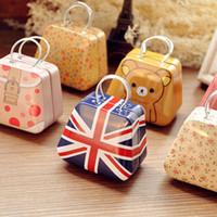 bag tin cans - DHL FREE girls metal handbag bag iron Mini Storage can small tin kids coin box candy boxes children
