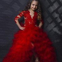 baby teens - Red Long Sleeves Applique Tiers Baby Girl Birthday Party Christmas Children Girl Pageant Dresses Flower Girl Dresses for Teens