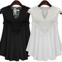 Wholesale Plus Size Summer Sleeveless Floral Lace Tops V neck Sexy Casual Blouse for Women Ladies GT29095