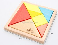 Wholesale High quality Tangram Seven piece puzzle Durable Geometry Wooden Intelligence Toys Jigsaw Puzzle Education Toys for Kids
