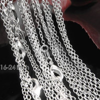 Wholesale Sterling Silver Chains 16 Inch - 1mm 16-24 inch 50pcs Fashion Genuine Authentic Solid 925 Sterling Silver Curb O Pattern Necklace Chain Lobster Clasper