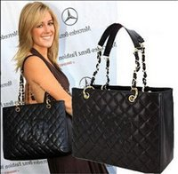 Wholesale Classic Black Caviar Leather GST Bag Grand Shopping Tote Bag Quilted Bag With Gold Hardware GST bag